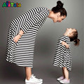 2017 family matching mother daughter dresses clothes striped mom daughter dress kids parent child outfits Fashion Family look