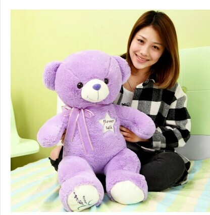 ФОТО 80cm lavender teddy bear plush toy bear doll throw pillow gift w4107