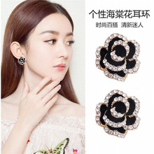 Personality simple flower earrings ins black sexy European and American exaggerated earrings