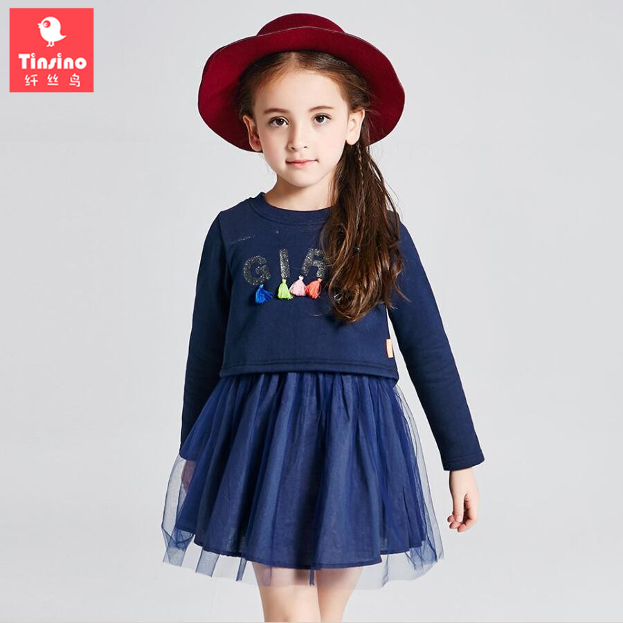 Tinsino 2017 Spring Girls Casual Ball Gown Dress Glitter Letters Tassel Princess Dresses Children Autumn Clothes Kids Clothing hot sale girls dress patchwork long sleeve kids dresses for baby girls ball gown princess dress spring children clothes costume