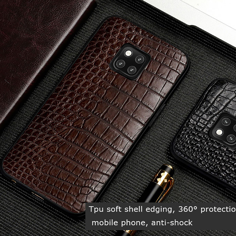 Para Companheiro 20 Luxury Genuine Leather case Telefone Para HUAWEI Companheiro 20Pro Crocodilo Caso Soft shell all-inclusive Para companheiro 20 capa