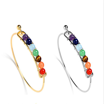 7 Chakra Stone Bangels Natural Stone Bracelet&Bangles Gold&Sliver Color Purple Crystal Bracelet Jewelry Women