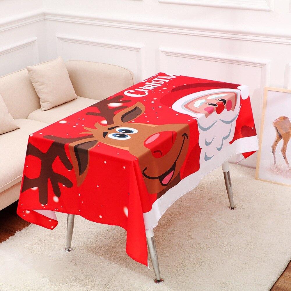 JaneYU 2019 New Christmas Hot Tablecloth Cartoon Snow Elk Home Decoration