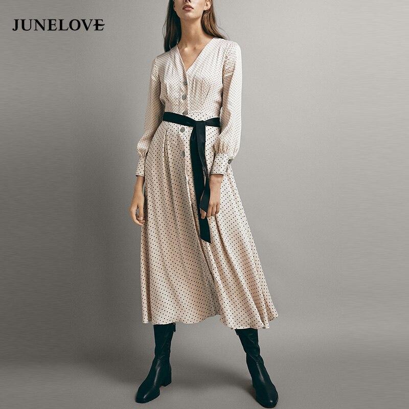 aad44fe88a9ea JuneLove Women Winter Long Sleeve Sweet Maxi Dress Casual Vintage V-Neck  Polka Dot Female Long Dress Sashes A-Line Lady Dress