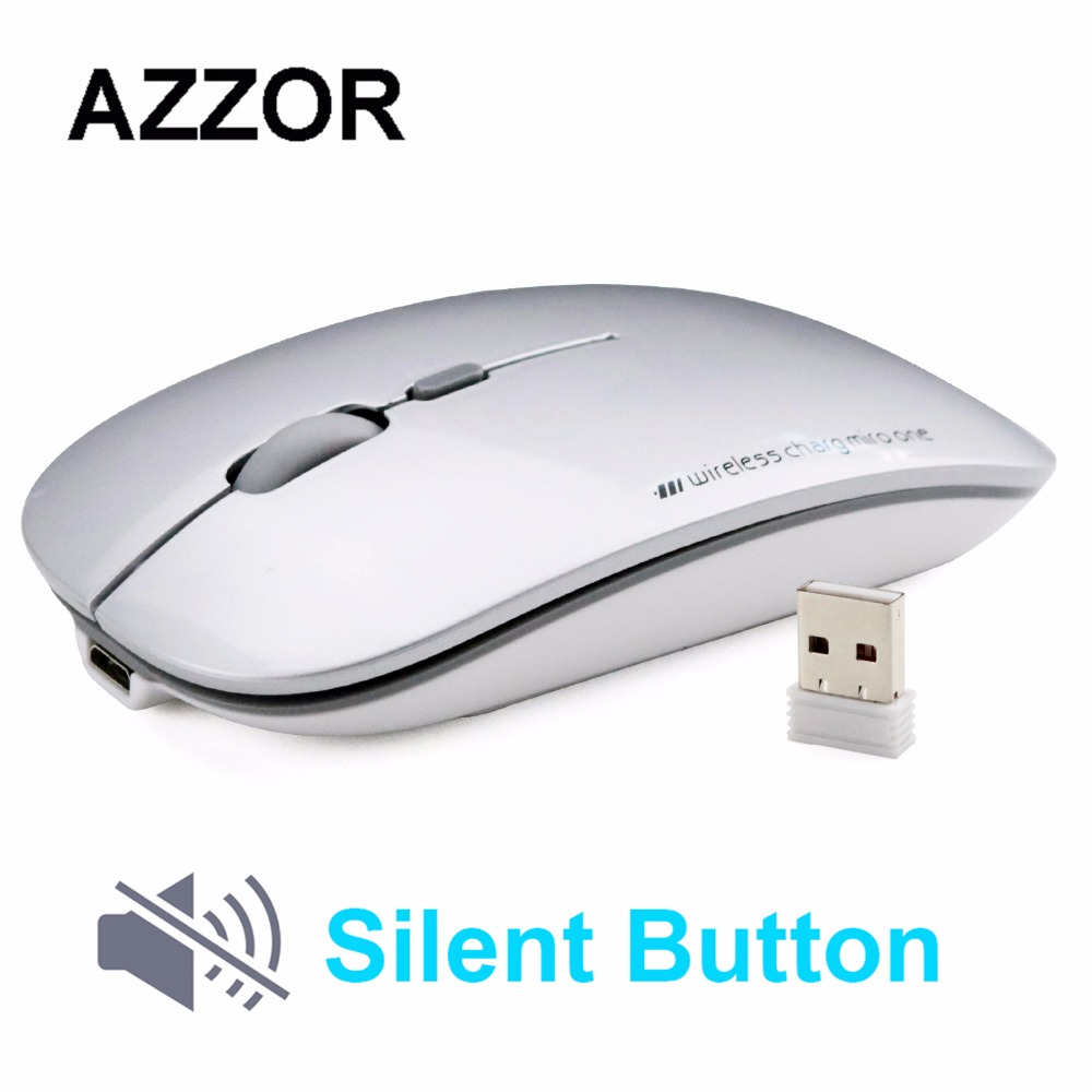 лучшая цена AZZOR N5 Rechargeable Wireless Mouse Silent Mute USB Optical Mouse 2.4GHz Super Slim Mouse Mice for Computer PC Tablet
