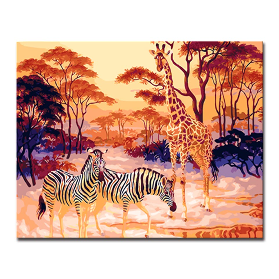 Giraffes and Zebras Picture By Numbers Kits Hand painted Style On Linen Canvas Modern Home Decor Unique Gift DIY Animal Painting in Painting Calligraphy from Home Garden