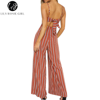 Lily Rosie Girl Women Jumpsuits Sexy Backless With Bow Off Shoulder Strap Striped Overalls Playsuits Wide