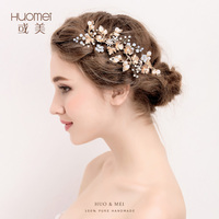 Handmade Gold Flower Pearl Jewelry Headband Wedding Hair Vine Accessories Handmade Charm Floral Bridal Headband