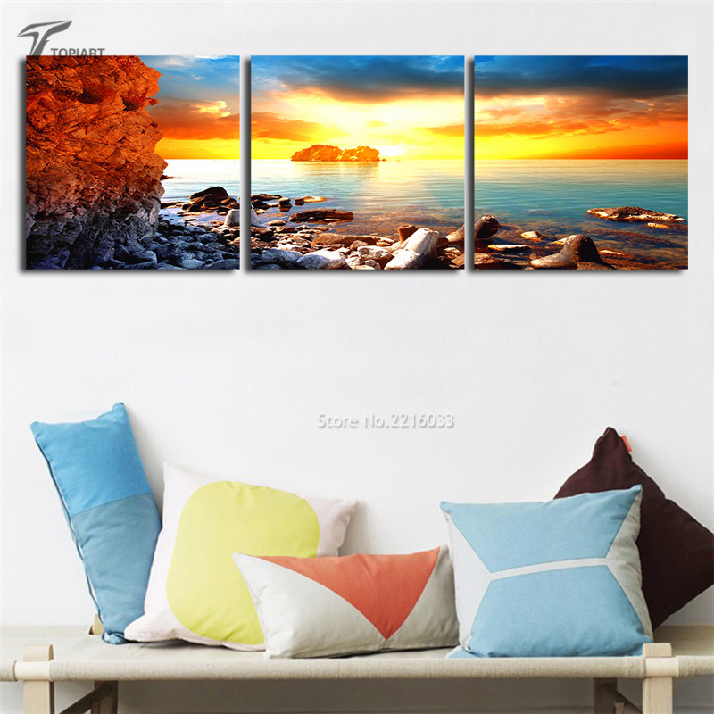 wall painting sunrise on sea wall art for home decor seascape sharp rocks giclee art print interior design gift 3 piece no frame