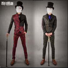 2015 new Men's spring tide Korean Slim suits personality Leopard nightclub singer dress costumes three-piece suit Wedding dress