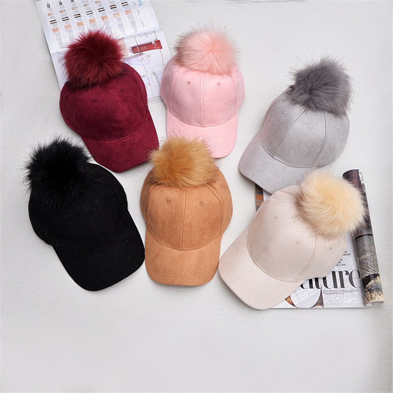 Inverno pompom rosa camurça boné de beisebol feminino outono casual streetwear boné preto elegante feminino ajustável moda chapéu
