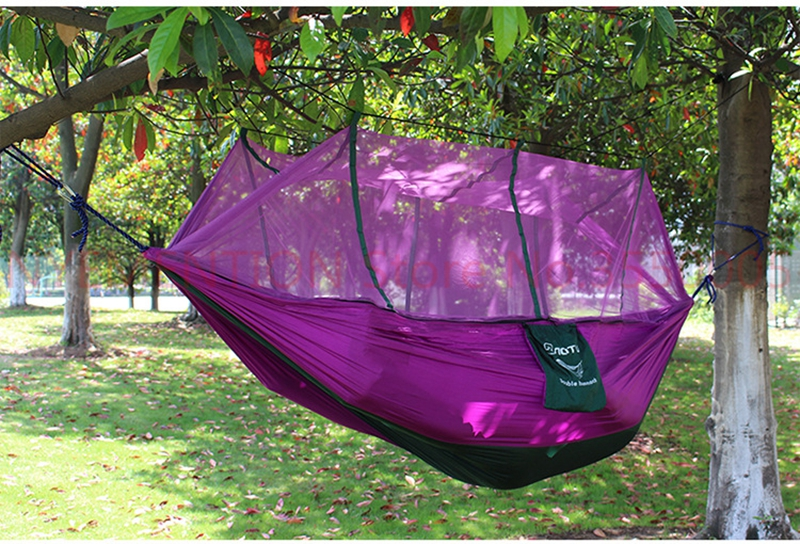 Outdoor Portable Camping Mosquito Net Sleeping Hammock High Strength Parachute Fabric Double Hanging Bed  10pcspcs