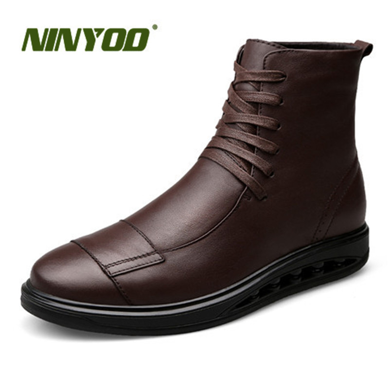 NINYOO New Men Boots Genuine Leather Ankle Boots Soft Fashion Motorcycle Boots Waterproof Outdoor Martens Boots Work Plus Size46 ...