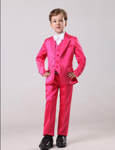 2016 Satin Fabric Two Buttons Boy Tuxedos Notch Lapel Children Suit Boy's Formal Wear Texedos Hot Pink Kid Wedding/Prom Suit(China)
