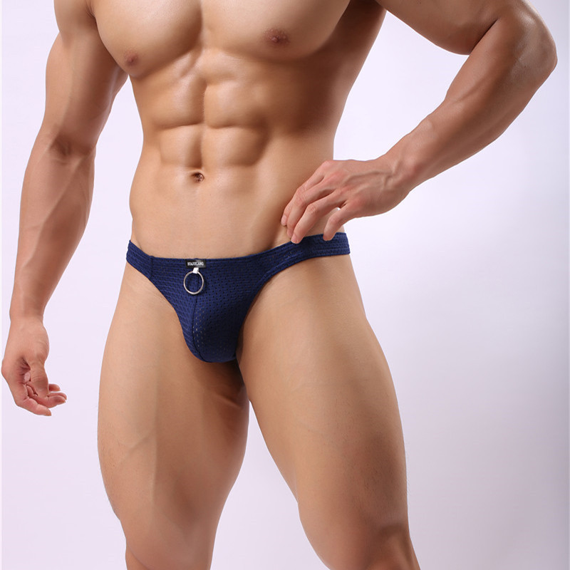 Sexy Men Briefs Penis Pouch Underwear Bulge Underwear Sexy Briefs Low Waist Breathable Hole Gay Men Sunny Boy Briefs Thongs