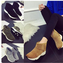 Winter Flat Shoes Women Snowboots 2017 Nubuck Leather Pointed Toe Boots Ladies Flat Shoes Winter Warm Shoes Slip on Black Yellow