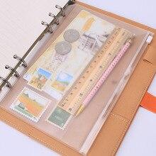 1 шт./лот, A5/A6/A7, сумка для хранения, школьная, офисная, поставка, прозрачный, свободный лист, блокнот на молнии, самоуплотняющийся держатель для файлов