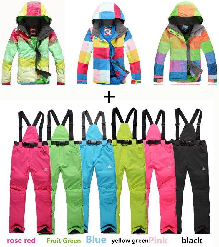 Hot 2016Fashion Plaid outdoor sportswear winter warm clothes windproof waterproof skiing suit sets women snowboard jackets+pants
