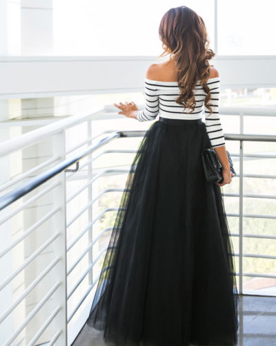 86a40add7a1ad US $9.73 18% OFF|Fashion Women Skirt Sets Multi Layers Maxi Long Tulle  Skirt with Off shoulder Striped Tee Shirt Lady Dress Pleated Women Set-in  ...