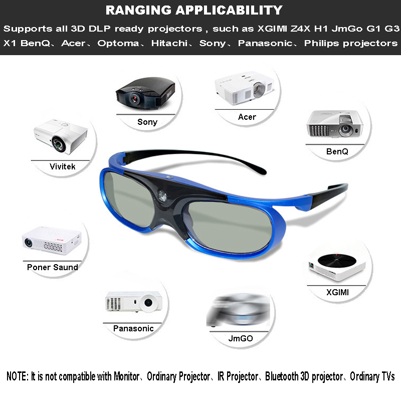 Rechargeable Active Shutter 96 144HZ 3D Glasses For Xgimi BenQ Acer Optoma HD144X UHD51 GT760 JMGO J6S V8 & All 3D DLP Projector-in 3D Glasses/ Virtual Reality Glasses from Consumer Electronics    2