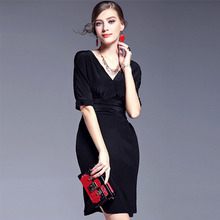 Elegant Sexy V Neck Half Sleeve Length Dress Slim Waist Black Color Women Dresses For Free Shipping And Size S L XL