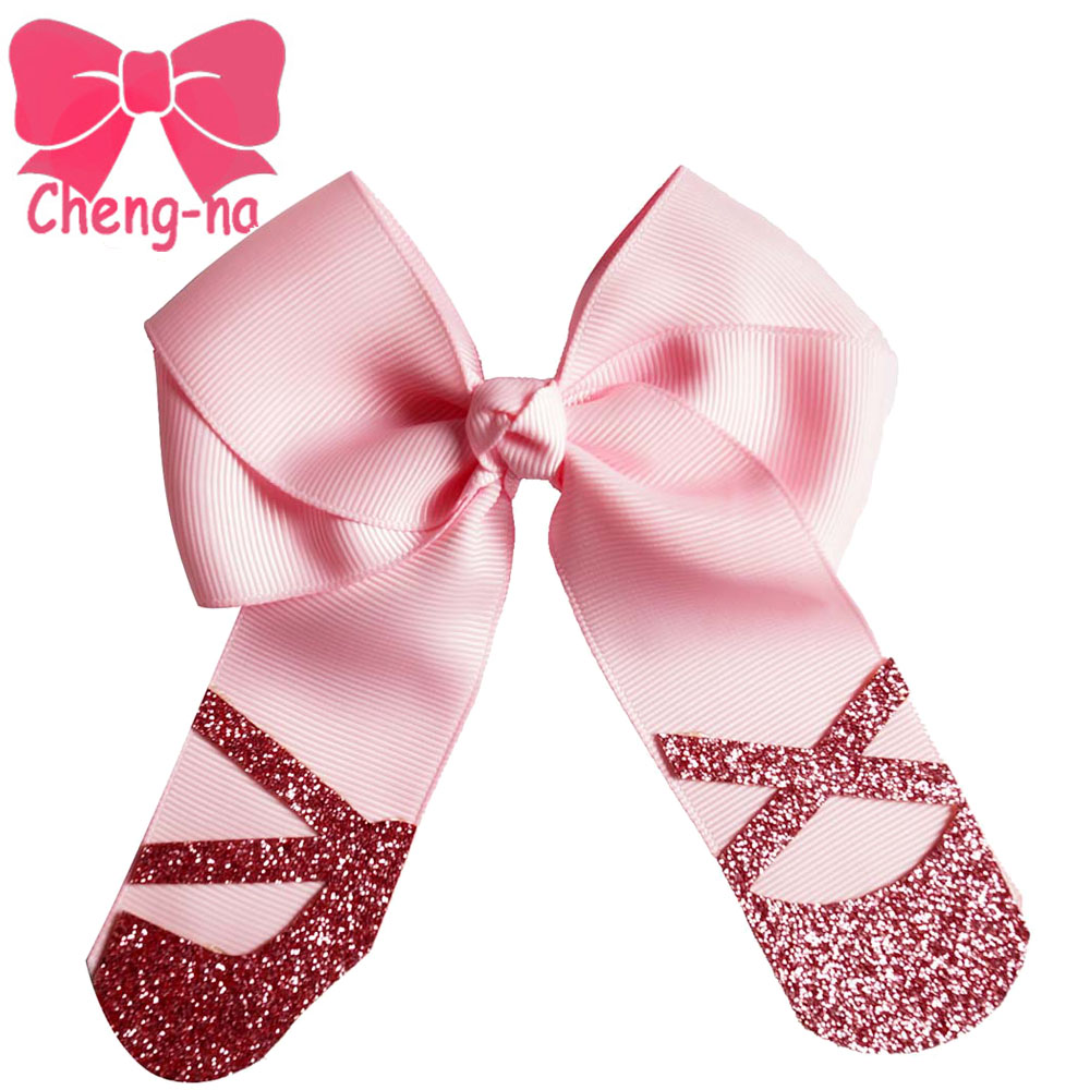 Newly Design4.5 Hair Bow Girls Gitter HaIr Bows With Alligator Clip Boutique Bow Hair Accessories For Adults 6Pcs/lot