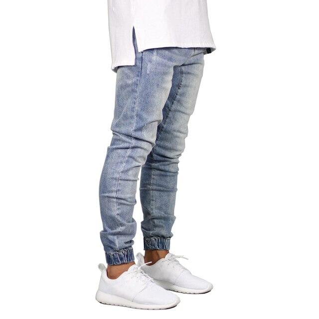 Модные эластичные Для мужчин джинсы Denim Jogger дизайн хип-хоп Джоггеры для Для мужчин Y5036