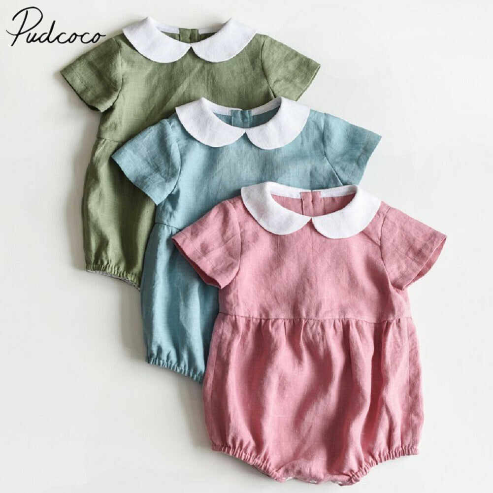 2019 Baby Summer Clothing Newborn Infant Baby Girls Short Sleeves Bodysuits Solid Jumpsuit Peter Pan Collar Outfit Clothes
