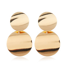 L&H Hot Sale Female Simple Drop Earrings New Classic Punk Double Gold Silver Round Dangle For Women Fashion Ear Jewelry