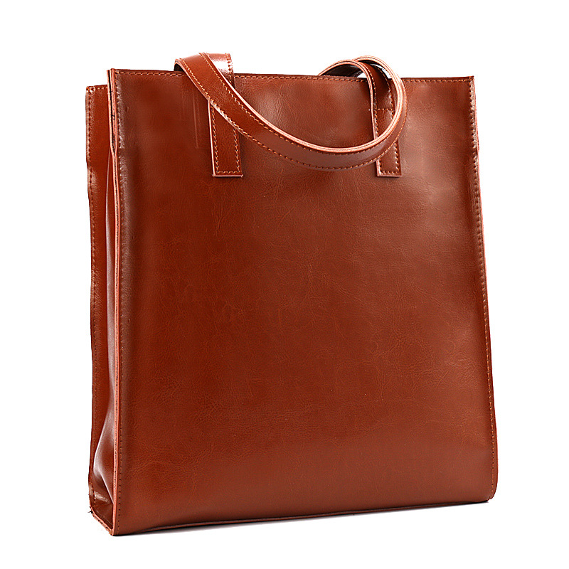 Joyir new style top-handle bags for women fashion genuine leather simple design solid color women handbags leisure ladies bag simple style solid color hollow out spiral ring for women