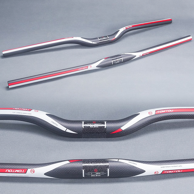 TOMTOU Matte Red 3K Carbon Fiber Bike <font><b>Handlebar</b></font> Mountain Bicycle Swallow-shaped Handle Bar 31.8*600-<font><b>760mm</b></font> image
