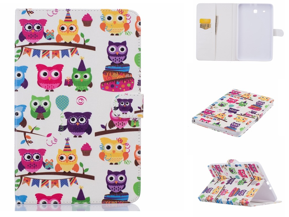 For Galaxy Tab E 9.6 Case SM-T560/ T561/ T565 Owl Flip Folio PU Leather Stand Magnetic Cover For Samsung Galaxy Tab E 9.6 планшет samsung galaxy tab e sm t561 sm t561nzkaser