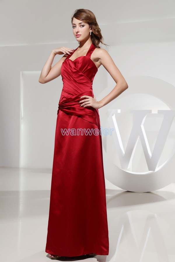2015 Limited Hot Sale Satin Halter Free Shipping Long Dress Plus