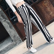 Spring Summer Chiffon Pants Women Black White Striped Wide Leg Pant High Waist Long Trouser Spring Female Fashion OL Clothes(China)