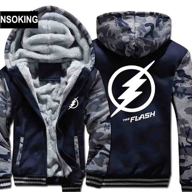 New Winter Warm The Flash Hoodies Marvel Justice League Hooded Coat Thick Zipper men casual cardigan Jacket Sweatshirt