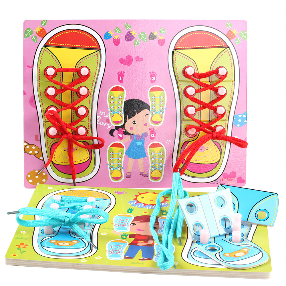 OUY Wooden Lace Baby Do It Yourself Learning Laces Toys ...