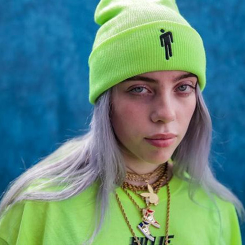 New Billie Eilish Beanie 4 Colors Women Daily Winter Hat Plain Hip-hop Knitted Hat Girls Warm Blohsh Beanie Hat