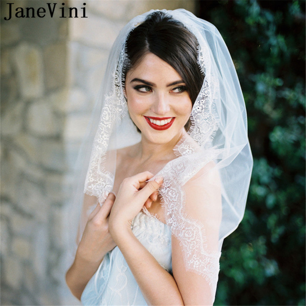 JaneVini Western Style Bride To Be Veil With Comb One Layer Lace Edge Bridal Short Soft Tulle Wedding Veils Bruidsaccessoires
