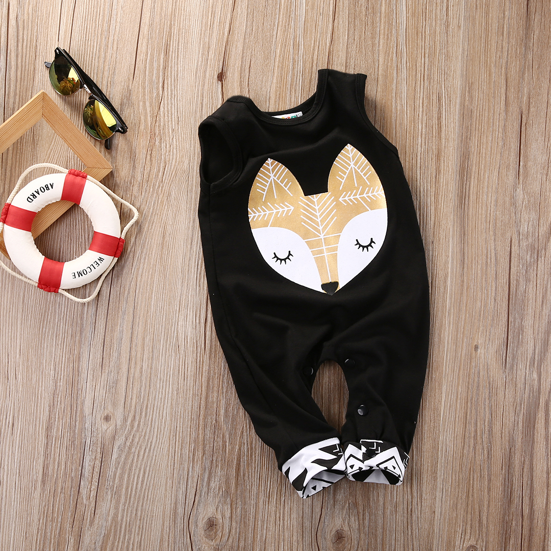 Newborn Infant Baby Boy Girl Sleeveless Cotton tent / fox Romper 2017 New Arrival Fashion Jumpsuit Outfits Clothing For Newborns baby girls butterfly long sleeve romper newborn kids 2017 new arrival button jumpsuit outfits clothing for newborns age 3m 3y