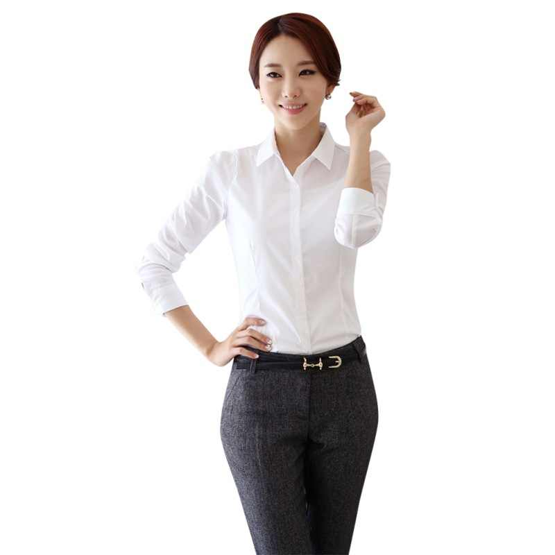 ファッション白シャツ女性作業服長袖スリム女性のブラウスシャツ