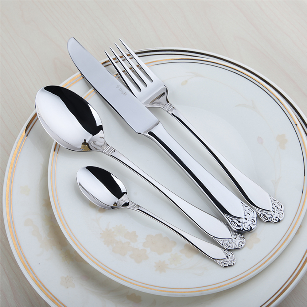 24 Pieces 18 10 Stainless Steel Cutlery Set Rose Handle Knives Forks Spoons Flatware Wedding Kitchen In Dinnerware Sets From Home