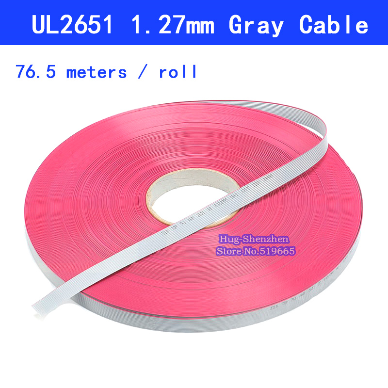 1.27mm Gray Flat Cable 16pin 8 64pin Wire 28AWG  UL2651 300V for 2.54mm IDC Connector-in Computer Cables & Connectors from Computer & Office    1