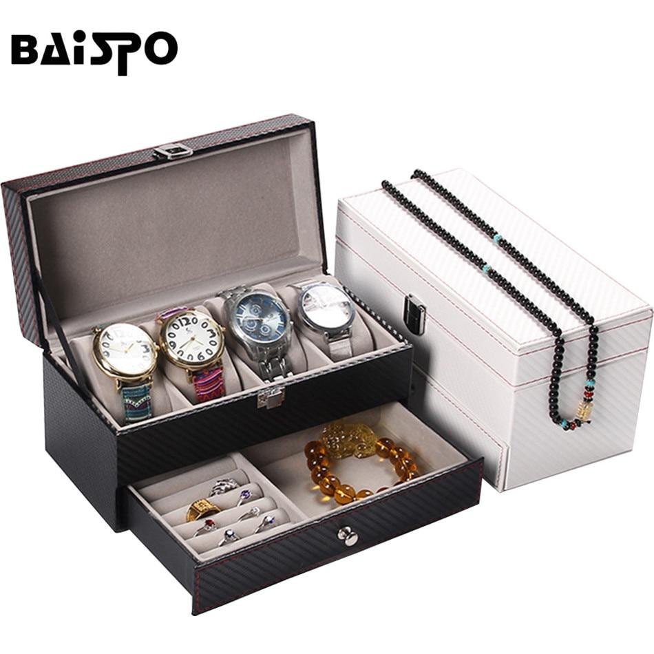 BAISPO Høy klasse Arbon fiber lær Smykker oppbevaring Box Container - Hjem lagring og organisasjon