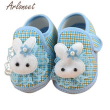 ARLONEET 2019 Newborn Girls baby cotton fabric Canvas Anti-slip Shoes lace bunny print Blue Sneaker Toddle Baby Cloth Crib Shoes(China)