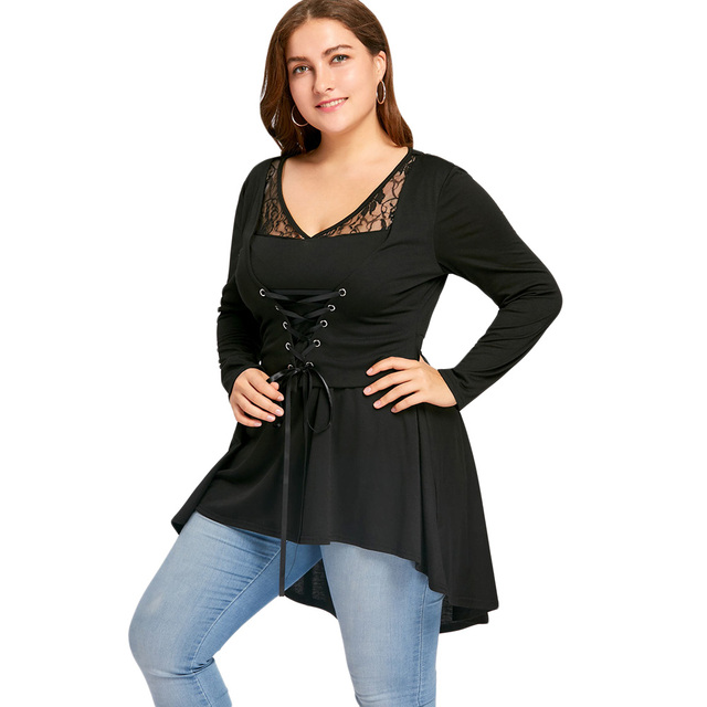 a78e0176fed896 Gamiss Women Vintage Lace Up High Low Top Women Clothes Autumn Long Sleeve  Peplum Tunic Tops Sexy Lace Blusas Plus Size XL-5X