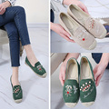 Spring Shoes for Women Espadrilles 2017 Women Flat Round Toe String Bead Embroidery Slip on Casual Fisherman Shoes Green /Black