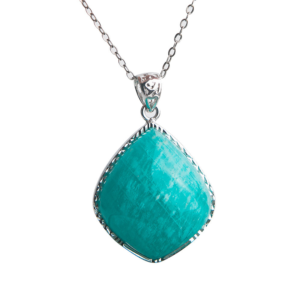 Genuine Jewelry Pendant Natural Amazonite Gems Crystal Beads Sterling Silver Charm Pendants NecklaceGenuine Jewelry Pendant Natural Amazonite Gems Crystal Beads Sterling Silver Charm Pendants Necklace