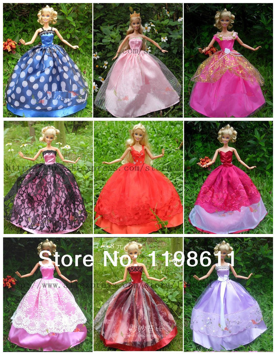 2016 New  5 costume+5shoes+5hangers Doll equipment For Barbie doll, greatest ladies christmas present birthday present