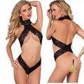 Sexy Black Lace A Céu Aberto Collant Bodysuits Senhoras Sexy de Três Pontos de Lingerie Sexy Conjunto Atacado Barriga Frete Grátis