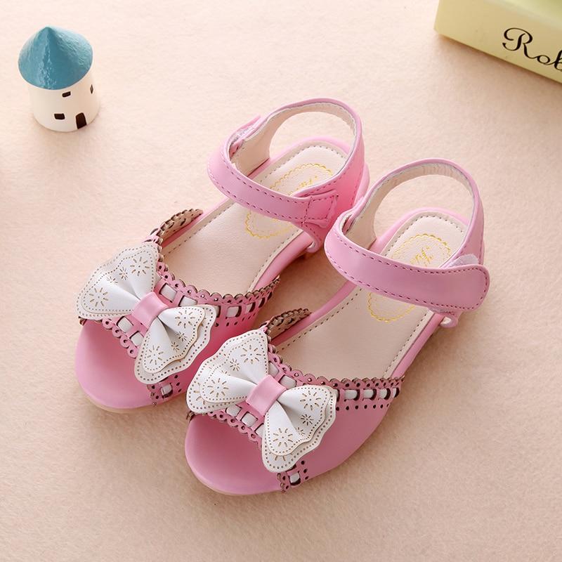 cbfc0f058 Girl Open Toe Sandals 2019 new children sandals summer kids sandlas cute  buttery tie design princess shoes girls Bowtie shoes-in Sandals from Mother  & Kids ...
